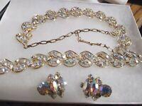VTG Necklace Parure AB Aurora Borealis Rhinestone 1950's Clip Earrings Bracelet