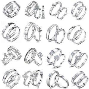 2 Pcs Gorgeous 925 Silver Rings Gem Men Women Couples Rings Jewelry Adjust Size