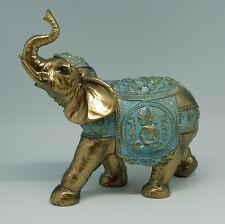 Figur Elefant Elephant aus Polyresin Gold/türkis mit Schmucksteine 21 cm