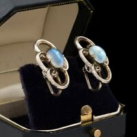 Antique Vintage Deco Sterling Silver Moonstone Swirl Motif Cluster Earrings 5.6g
