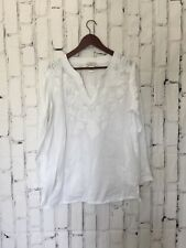 catalog favorites Womens Tunic Top Size Large White Long Sleeve Cotton Stiching
