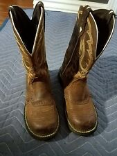 JUSTIN BOOTS AGED BARK WESTERN COWGIRL RIDING SIZE 5.5  B BOOTS FOR WOMEN L9909