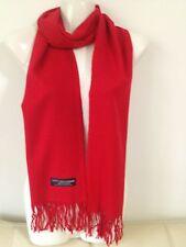 100% CASHMERE SCARF SOLID DESIGN COLOR RED MADE IN SCOTLAND SUPER SOFT