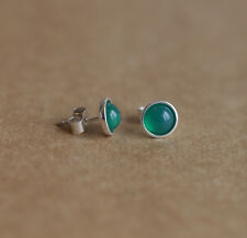 925 Sterling silver stud earrings with natural Green Onyx gemstones