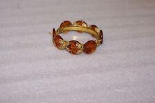 Vintage Miriam Haskell Signed Hinged Bracelet Filigree Amber Color Pieces