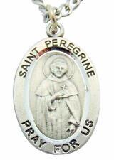 "St Peregrine Medal 1"" Pewter Saint & Cross Pendant w/ Steel Chain & Gift Bag"