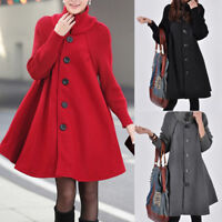 Women Winter Warm Wool Blend Loose Outwear Long Jacket Coat Parka Plus Size