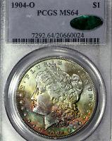 1904-O MS64 CAC Morgan Silver Dollar $1, PCGS Graded, Rainbow Toned (DR)