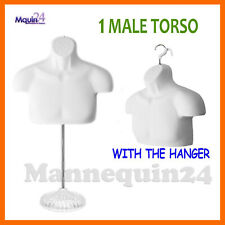 One Mannequin Male Torso w/ Acrylic Stand & Hanger -White Men Chest Dress Form