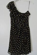 84b16a4e21d1 Allen B. Black Yellow Polka Dot One Shoulder Ruffled Knee-Length Dress SIZE:
