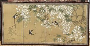 Vtg Japanese Byobu Signed Handpainted Birds Flowers 4-Panel Folding Screen 70X35