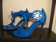 """Mona Mia Teal Blue with Tie Laces and faux pearls 4.5"""" High Heel Shoes Size 10"""
