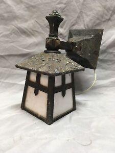 Antique Arts Crafts Cast Iron Porch Sconce Light Fixture Milk Glass 257-18E