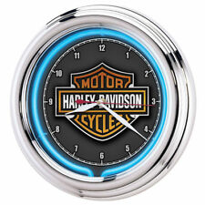 Harley-Davidson  - Essential Bar & Shield Blue Neon Clock HDL-16675 SHIPS FAST