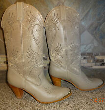 Womens ACME Sz 7.5 M Grey Cowboy Boots Stacked Heels Gold Tips