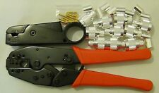 3-BLADE Metal Coax Cable STRIPPER+ CRIMP TOOL+10 N Male SILVER Connector RG213/8