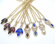 $1.75 EACH! Wholesale LOT Eight CRYSTAL Gold GP Necklaces Crafts Art Bridal NEW