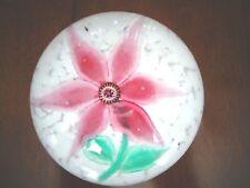 Murano Glass LAMPWORK PINK FLOWER Set in Mottled Bedof White Frit Paperweight