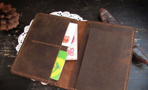 passport Holder wallet purse cow Leather card case Bifold iphone bag brown Z090