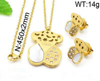 Stainless Steel Jewelry Teddy Bear Necklace Earring Set Crystal Pendant Necklace