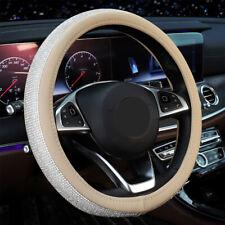 38cm 15'' Beige PU Crystal Car Steering Wheel Cover w/ Bling Rhinestone Diamond