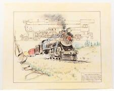 Vintage PAUL GEYGAN Train Engine Overland Express Lithograph 1978 SIGNED #29