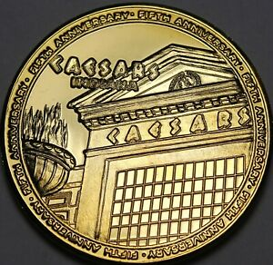 Caesars Palace Indiana Gold Plated 5th Anniv 38.5mm Gem Unc Medallion~Excellent