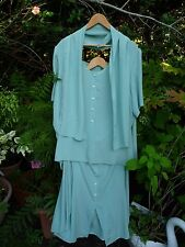 Elegant Mint Green Summer Skirt Suit Tunic Top Blouse+Scarf-Size 26, 28, 30, 32