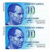 EF FINLAND BANKNOTE P113  10 MARKKAA 1986