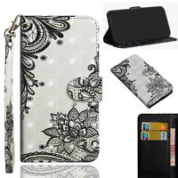 3D Painting PU Leather Wallet Case Flip Cover Stand Card for Phones Black Flower