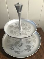 Vintage RETRO Aluminum 2-Tier Serving Tray Etched ROSES Silver 9.5""