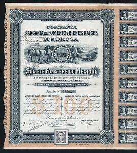1910 Republica Mexicana: Compania Bancaria de Fomento y Bienes Raices de Mexico
