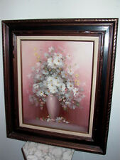 Framed Oil on Canvas Pink Floral Flowers Vase Painting Signed Compton