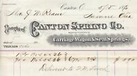 U. S. Canton Ohio Canton Spring Co 1878 Manufacturing Springs Receipt Ref 38360