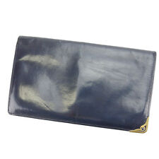 Cartier Wallet Purse Long Wallet Navy Gold Woman Authentic Used C2101