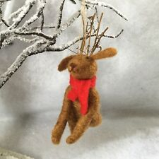 Wool Dog with Reindeer Antler Felt Christmas Tree Decoration Gisela Graham Stag
