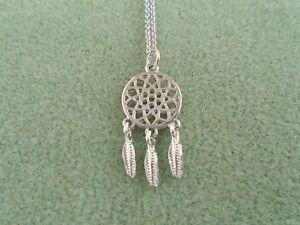 Dream Catcher Pendant Necklace - Silver Tone