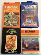 Atari 2600 Boxed Lot with Manuals Baseball Atlantis Street Racer Video Pinball