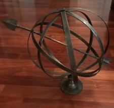 vintage sundial Large Copper Base Metal Garden Armallary Yard Arrow