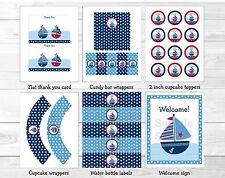Sail Away Sailboat Nautical Blue Printable Birthday Party Package
