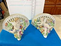 Carl Thieme Dresden Set of 2 Large Wall Shelves Reticulated Elaborately Decorate