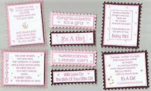 4 IT'S A GIRL Birth New Baby Greeting Card Craft Verse Toppers W/WO Sentiments