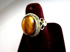 VINTAGE 925 ST. SILVER RING WITH 14x10 mm TIGER'S EYE, Size P