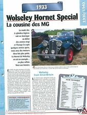 Wolseley Hornet Special Sport 6 Cyl. 1933 UK England Car Auto Retro FICHE FRANCE