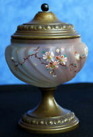 Antique Beautiful Glass Bowl & Bronze Handpainted Decor Vase