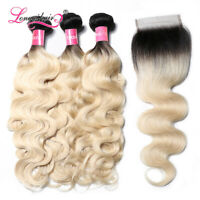 Ombre Blonde Body Wave Brazilian Virgin Human Hair 3Bundles with 4x4Lace Closure