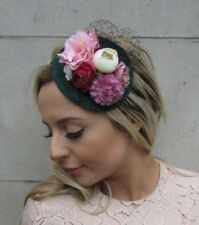 Bottle Green Blush Hot Pink Rose Flower Fascinator Headband Teardrop 1950s 5334
