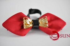Mens Men Red Crystal Diamond Looks Design Bow Tie Bowties Wedding Party