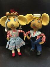 Vintage Topo Gigio Boy And Rosy Girl Mouse Felt Wire Lenci Lot Of 2 EUC Italy