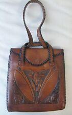 Antique Art Nouveau Floral Hand Tooled Leather Suede Lined Purse Circa 1910 #3
